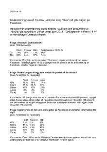 """Undersökning Unicef, YouGov - attityder kring """"likes"""" (att gilla något) på Facebook."""