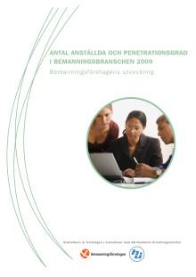 Antal anställda och penetrationsgrad i bemanningsbranschen 2009