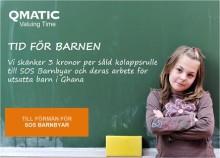 """Qmatic blir fadderföretag till SOS Barnbyar och inleder samarbetet """"Tid för barnen"""" där 3 kr per såld kölappsrulle går till behövande barn"""