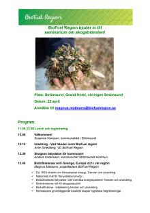 Program för skogsbränsleseminarie i Strömsund
