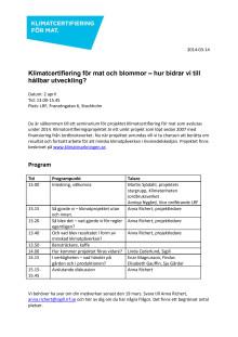 Program Klimatcertifiering för mat och blommor