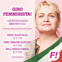 Soraya Post tar feministiskt homeparty till Italien