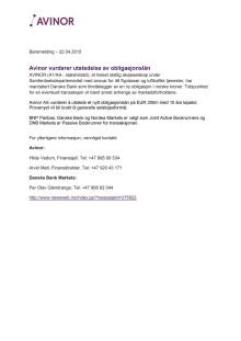 Avinor AS - vurderer utstedelse av nytt obligasjonslån
