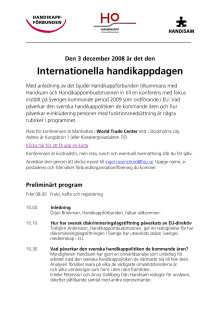 Program Internationella Handikappdagen 3 dec 2008
