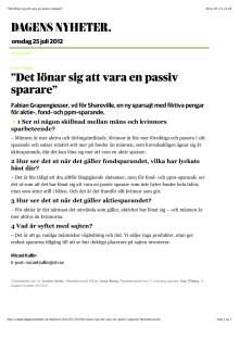 Dagens nyheter - artikel 2012-07-25