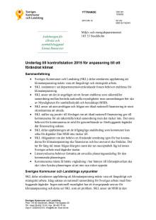 Underlag till kontrollstation 2015 för anpassning till förändrat klimat