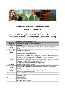 """Program för """"Kulinariska Rheinland-Pfalz"""""""