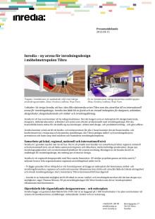 Pressmeddelande på svenska om Inredia, en ny arena för inredningsdesign i Tibro