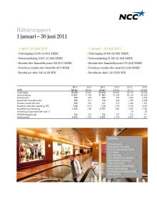 Halvårsrapport 1 januari – 30 juni 2011