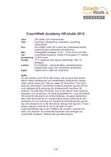 CoachWalk Academy HR-klubb 2012