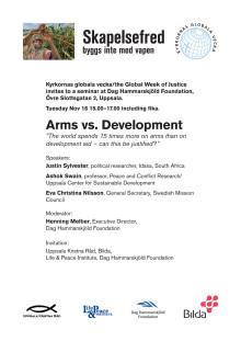 """Inbjudan """"Vapen vs utveckling"""""""