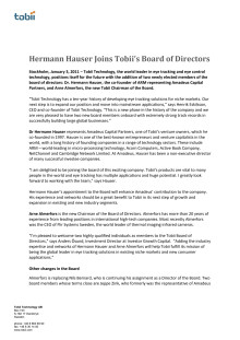Hermann Hauser Joins Tobii's Board of Directors