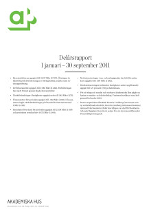 Delårsrapport 1 januari – 30 september 2011