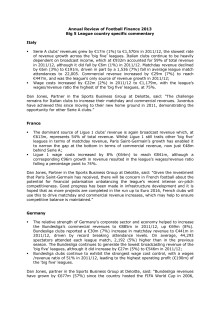 Annual Review Football Finance 2013 - European country specific comments