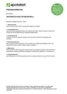 Pressinformation Apotekets kvalitetskontroll