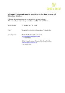 Inbjudan till presskonferens med Good to Great och Björn Borg Stiftelsen