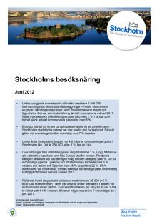 Stockholms besöksnäring - månadsrapport juni 2012