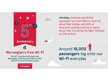 Norwegianin wifi viisi vuotta