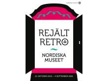 Rejält retro – målade allmogemöbler 1750–1850 på Nordiska museet. Affisch: Futurniture
