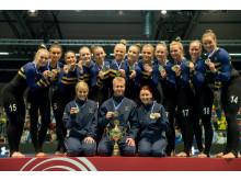 EM-landslaget i truppgymnastik som tog guld till Sverige 2014