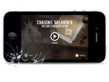 iPhone med Stieg Larsson-appen