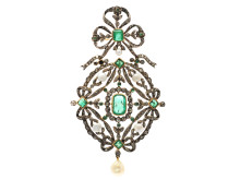 Exklusiva 12/4, Nr: 138, HÄNGE/BROSCH, 14K guld/silver, smaragder, orientaliska pärlor