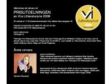 Inbjudan till prisutdelning av Vi:s Litteraturpris 2009