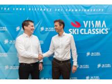 David Nilsson, vd Ski Classics og Eivind Gundersen, divisjonsdirektør i Visma