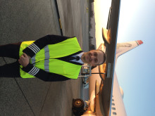 Captain Georg Myhre before take-off on the milestone flight