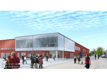 Skissbild nya entrén till A-huset på Campus Luleå