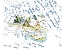 Illustration av idéerna för framtidens campus i Borås