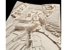 Álvaro Siza Vieira, New Gate of the Alhambra, Wood model of the Alhambra territory by Álvaro Negrello, Dimension 1:500, 2010.