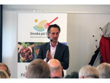 Mikael Wieloch, ICA-handlare från Båstad berättade om närproducerat och noga utvalt.