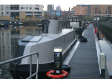 Op Cloudcastle U-Boat canal boat replica in Leeds