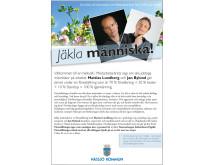 """Nässjö Kommuns affisch inför """"Jäkla människa"""" den 23 januari 2013. #psykologi #hrsve"""