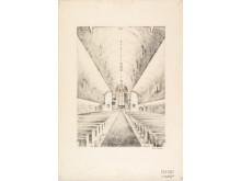 Arkitektur på museum. Blakstad og Munthe-Kaas arkitektkontor, Interiørperspektiv, Bodø Domkirke (1952)