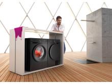 Svart  vaskemaskin og tørketrommel