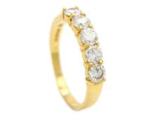 Klassiska 28/3, Nr: 12, ALLIANSRING, 18K guld, 5 briljantslipade diamanter ca 1,20 ctv