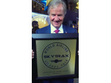 Norwegian's CEO Bjørn Kjos receives the SkyTrax Award for 2014