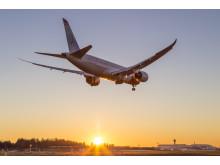 Norwegian's Boeing 787 Dreamliner and sunset