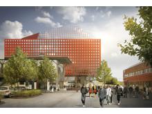 Skiss nya studenthuset (exteriör), Linköpings universitet