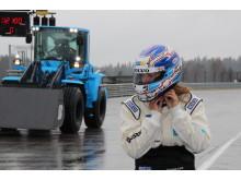 Karin Olsson förare i Volvo L60G PCP - världens snabbaste hjullastare