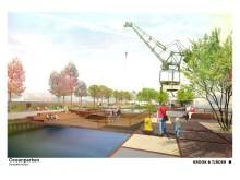 Vy över parken i torrdockan/Oceanhamnen Illustration: Krook och Tjäder