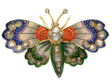 Exklusiva 23/11, Nr: 256, BROSCH, 14K guld, emalj, rosenslipade diamanter, fjäril