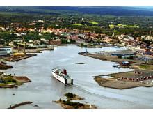 Flygbild Gotlandsfärja Oskarshamns hamnbassäng