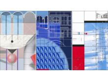 Arkitektur på museum. Signalbilde, utsnitt av utstillingsplakater, designet av Reidar Holtskog