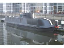 Op Cloudcastle Replica U-boat canal boat moored in Leeds