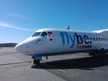 The first Flybe flight about to leave from Stockholm Bromma to Oslo, Norway