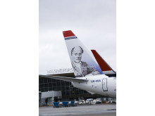 Norwegian's first Finnish hero, Johan L Runeberg at Helsinki Airport 27 March 2012 on DY-NIA