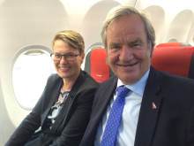 Norway's Minister of Climate and Environment, Tine Sundtoft and Norwegian CEO Bjørn Kjos